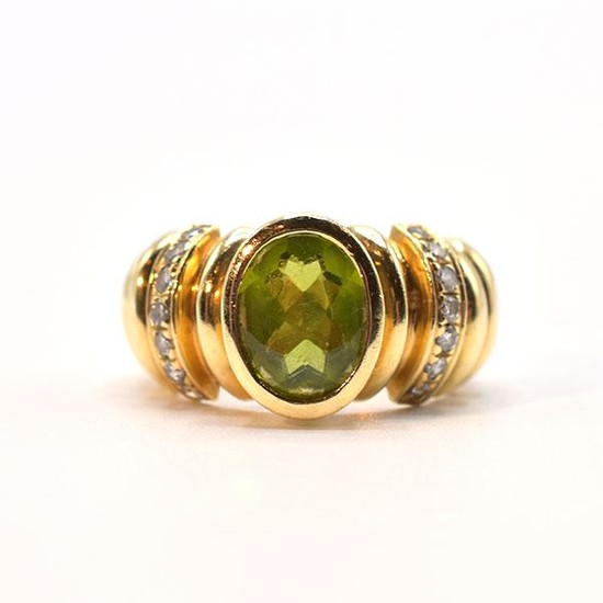 14K Yellow Gold, Diamond, & Peridot Ring