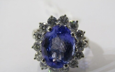 18ct WHITE GOLD TANZANITE & DIAMOND CLUSTER RING, principal ...