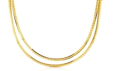 18ct yellow gold omega chain necklace with a faceted single ...