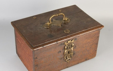 18th century German oak document box with engraved