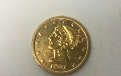 1901 US Five Dollar Gold Coin