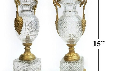 19th C. Pair of Figural Bronze & Crystal Vases