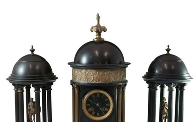 19th Cent. Dore Bronze and Marble Clock