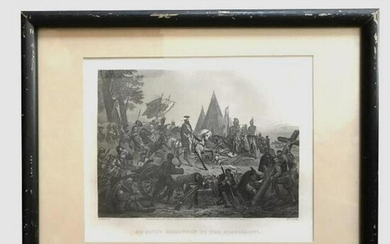19thc De Soto's Discovery Of Mississippi Framed