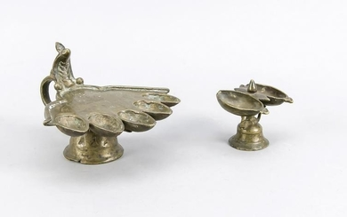 2 temple oil lamps, India