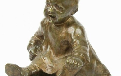 20th c Bronze Child Signed Rube