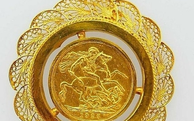 21k Yellow Gold Vintage King Sovereign Coin Pendant