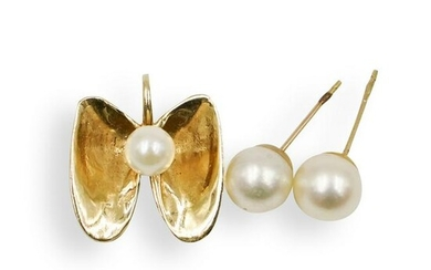 (3 Pc) 14k Gold and Pearl Jewelry Set