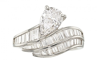 55222: Diamond, Platinum Ring The ring features a pear