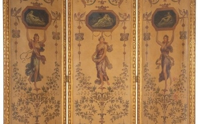 61022: A French Neoclassical Giltwood Three-Panel Scree