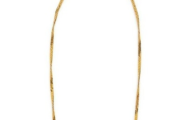 A 14 Karat Yellow Gold and Diamond Necklace,