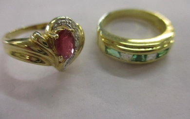 A 14ct gold, ruby and diamond ring, together with a 14ct gol...