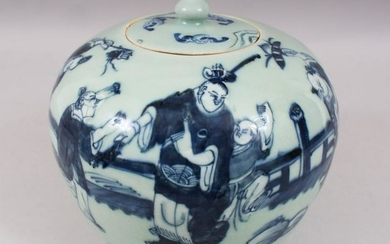 A 19TH CENTURY CHINESE CELADON BLUE & WHITE PORCELAIN