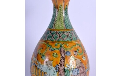 A CHINESE YELLOW GLAZED PORCELAIN VASE 20th Century, painted...