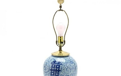 A Chinese Double Happiness Porcelain Jar Lamp and Pair