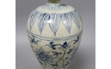 A Chinese Ming style blue and white inverted pyriform vase, ...