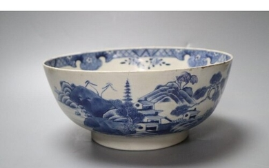 A Chinese blue and white bowl, 25cm, restored
