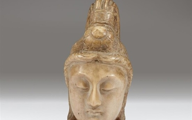 A Chinese carved stone head of bodhisattva Possibly Tang/Liao...