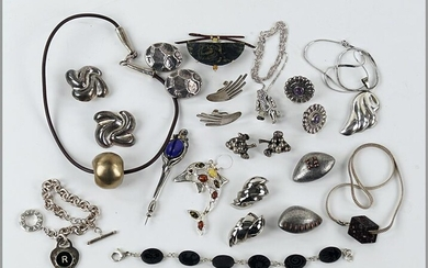 A Collection of Sterling Silver Jewelry.