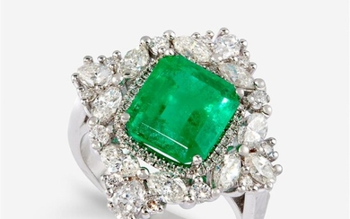 A Colombian emerald, diamond, and eighteen karat white gold...