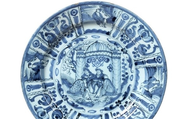 A Dutch Delft Dish, late 17th century, painted in blue...