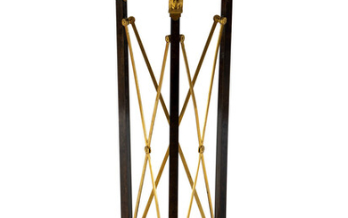 A French Empire Style Gilt Bronze and Ebonized Marble Top Pedestal Table