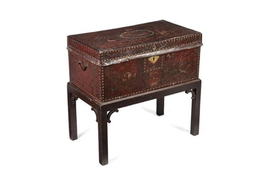 A George III embossed leather chest, late 18th century, on later stand