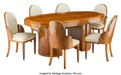 A Harry and Louis Epstein Cloud Leather and Walnut Dining Set (circa 1930)