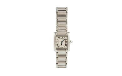 A LADY'S STAINLESS STEEL CARTIER SANTOS WRIST WATCH, sapphir...