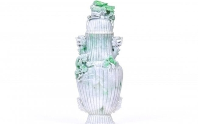 A LARGE JADEITE VASE AND COVER