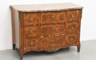 A Louis XVI period marquetry chest of drawers,...