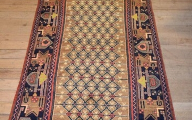 A PERSIAN SONQOR KOLYAIE HALL RUNNER. 100% WOOL PILE. HAND-KNOTTED VILLAGE WEAVE FROM THE KURDISTAN REGION WITH TRIBAL DESIGN OF ALL...