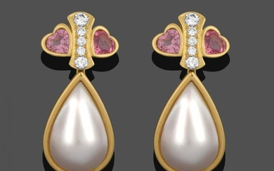 A Pair of Diamond, Pink Tourmaline and Mabe Pearl Drop...