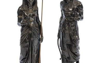 A Pair of French Egyptian Revival Patinated Metal