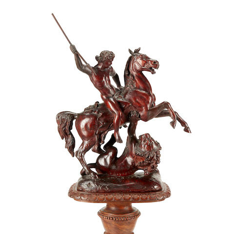 A Renaissance Style Carved Wood Figural Group of a Nude Warrior on Horseback Slaying A Lion on a Renaissance Style Carved Wood Pedestal