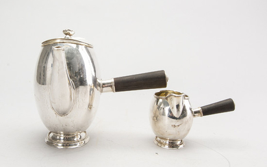A Swedish 20th century silver coffee pot and creamer, mark of GAB Stockholm 1946 and 1948.