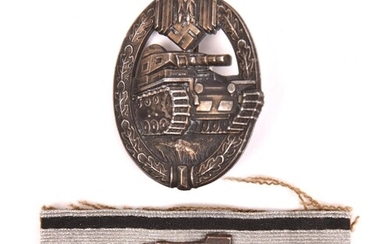 A Third Reich Panzer badge, flat back grey metal with maker'...
