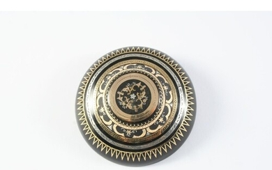 A VICTORIAN PIQUE BROOCH of oval shape, with gold and silver...