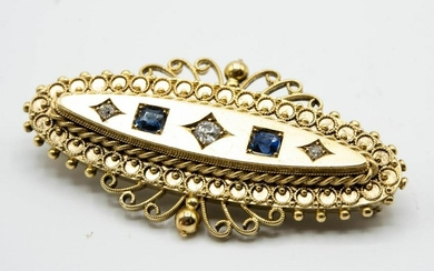 A VICTORIAN SAPPHIRE AND DIAMOND SWEETHEART BROOCH, the