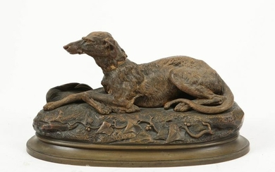A bronze model of a dog, after Cana