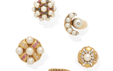 A collection of five cultured pearl, diamond and gemstone rings