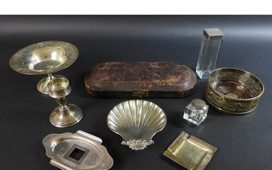A collection of silver and silver plated wares, comprising a...