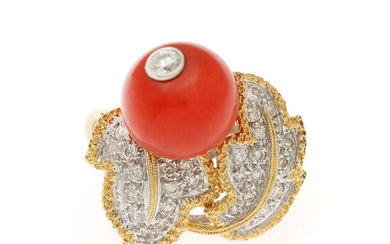 A coral and diamond ring set with a coral bead and numerous diamonds, totalling app. 0.54 ct., mounted in 18k partly rhodium plated gold. Size 52.