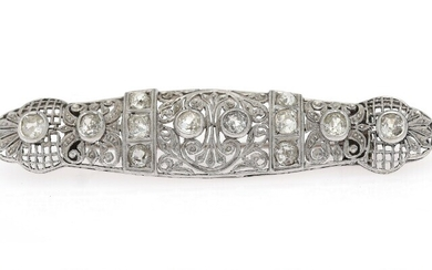 NOT SOLD. A diamond brooch set with numerous old-cut diamonds weighing a total of app....