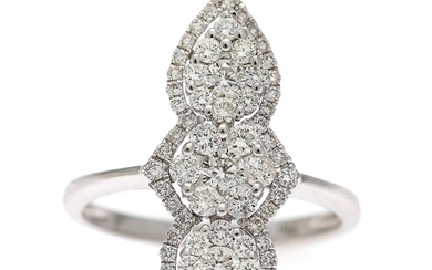 NOT SOLD. A diamond ring set with numerous diamonds weighing a total of app. 0.96...