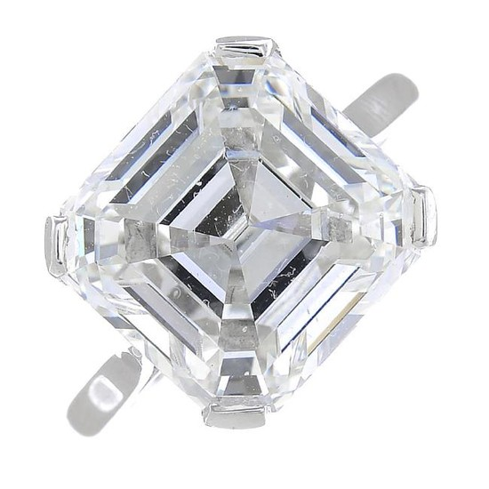 A diamond single-stone ring. The square-shape diamond