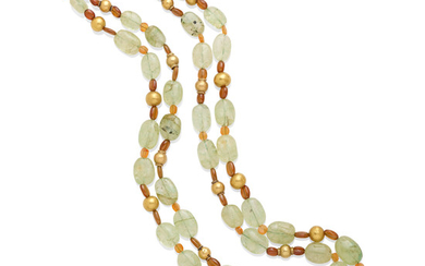 A double strand green beryl bead necklace