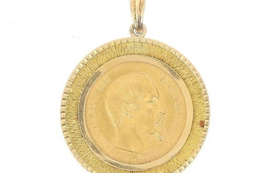 A gold coin of 50 FF Napoleon III bare head 1855 A, mounted as a pendant on 18 K (750 °/°°) yellow gold.