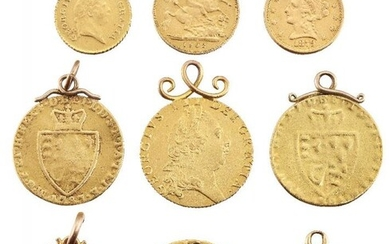 A group of nine pendant mounted gold...
