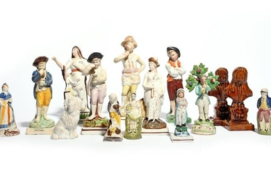 A large group of Staffordshire figures 19th century, including two treacle-glazed busts of a wigged gentleman on a shaped socle, two Season figures, a large figure of Faith, and three Pratt ware figures, damages and restoration, 25cm max. (15)